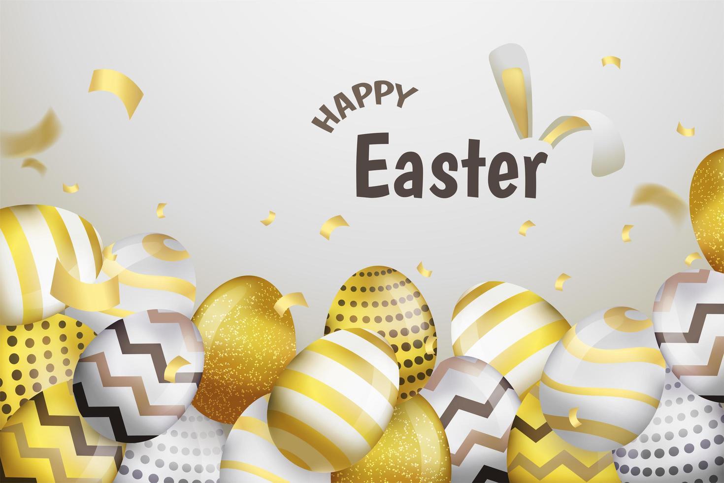 Joyeux Pâques fond d'oeufs d'or et d'argent vecteur