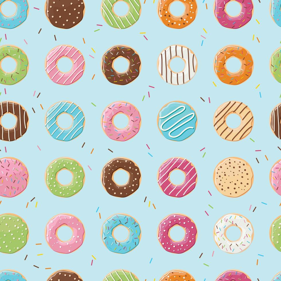 Modèle sans couture avec des beignets brillants colorés savoureux vecteur