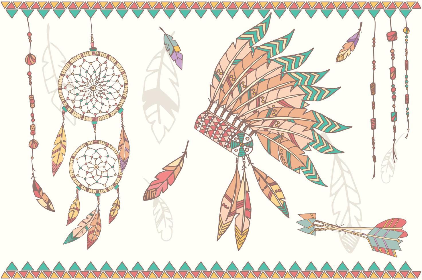Capteur de rêves amérindien dessiné à la main, perles et plumes vecteur