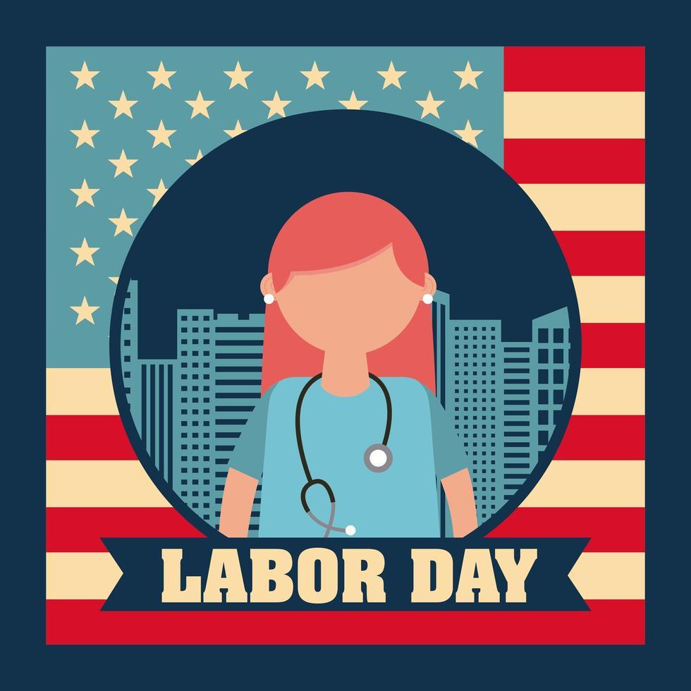 carte de fête du travail avec infirmière vecteur