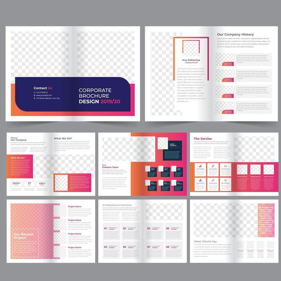 Modèle de brochure d'entreprise dégradé rose et orange de 16 pages vecteur