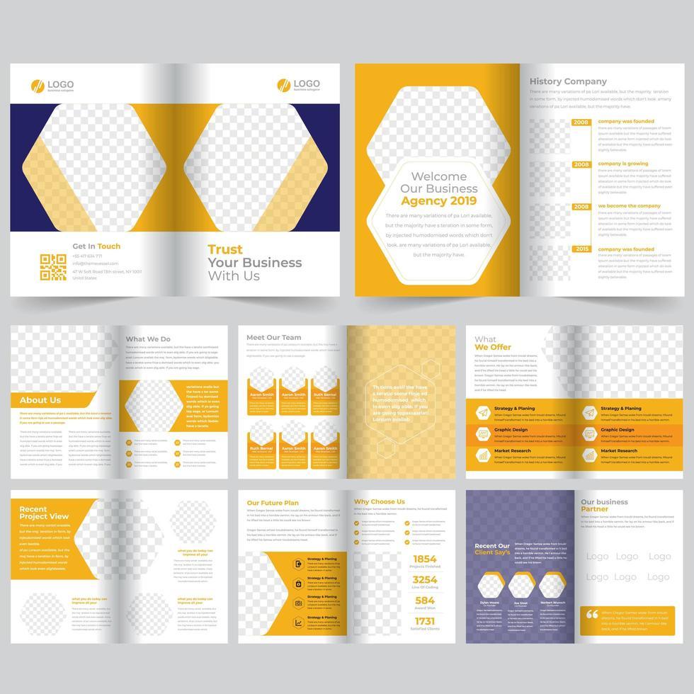 Modèle de brochure d'entreprise géométrique jaune de 16 pages vecteur