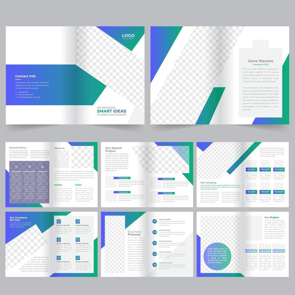 Modèle de brochure d'entreprise de 16 pages vert et bleu vecteur