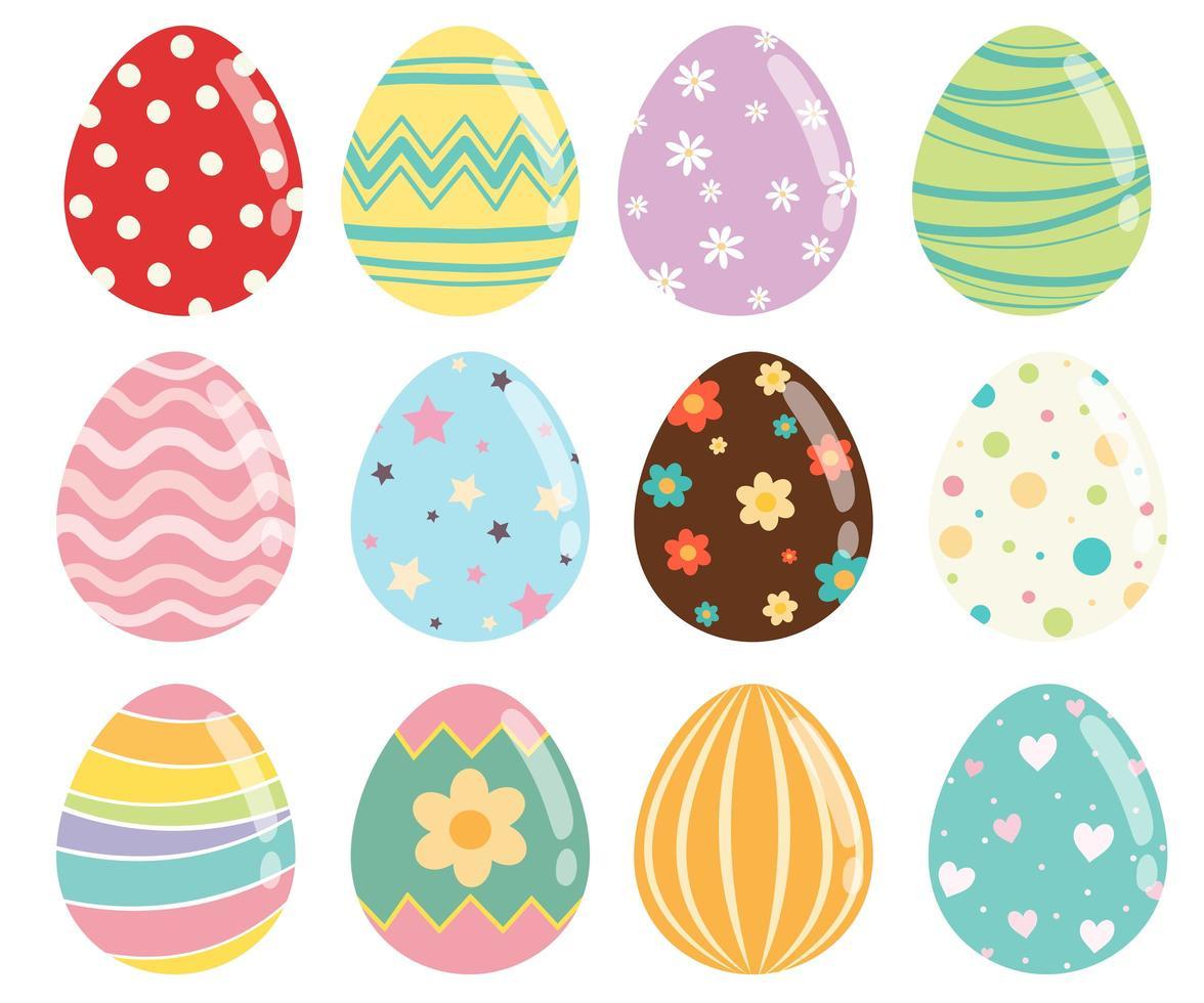 Ensemble d'oeufs de Pâques avec une texture et des motifs différents vecteur