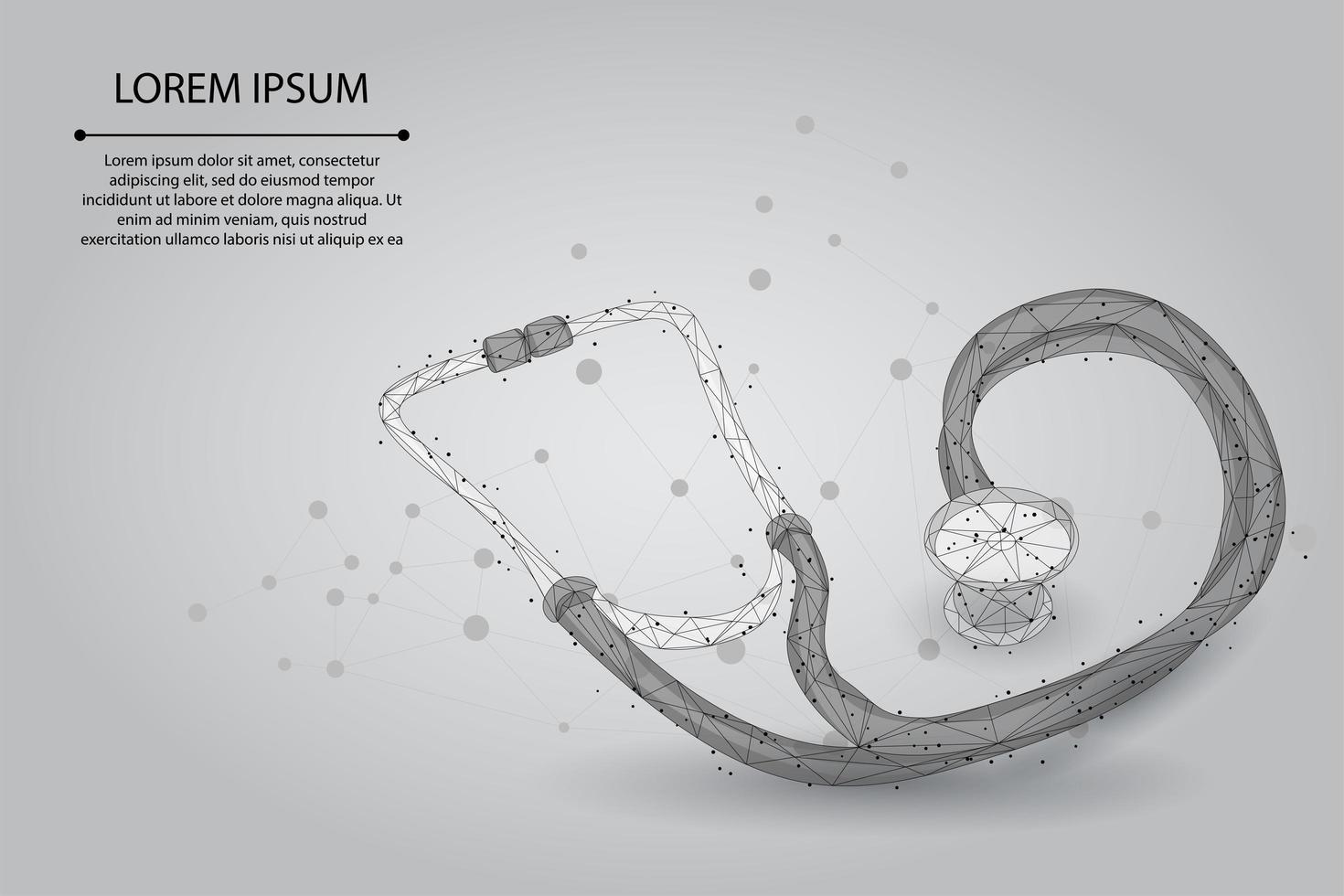 Stéthoscope de médecine de ligne et de point de Low Poly vecteur