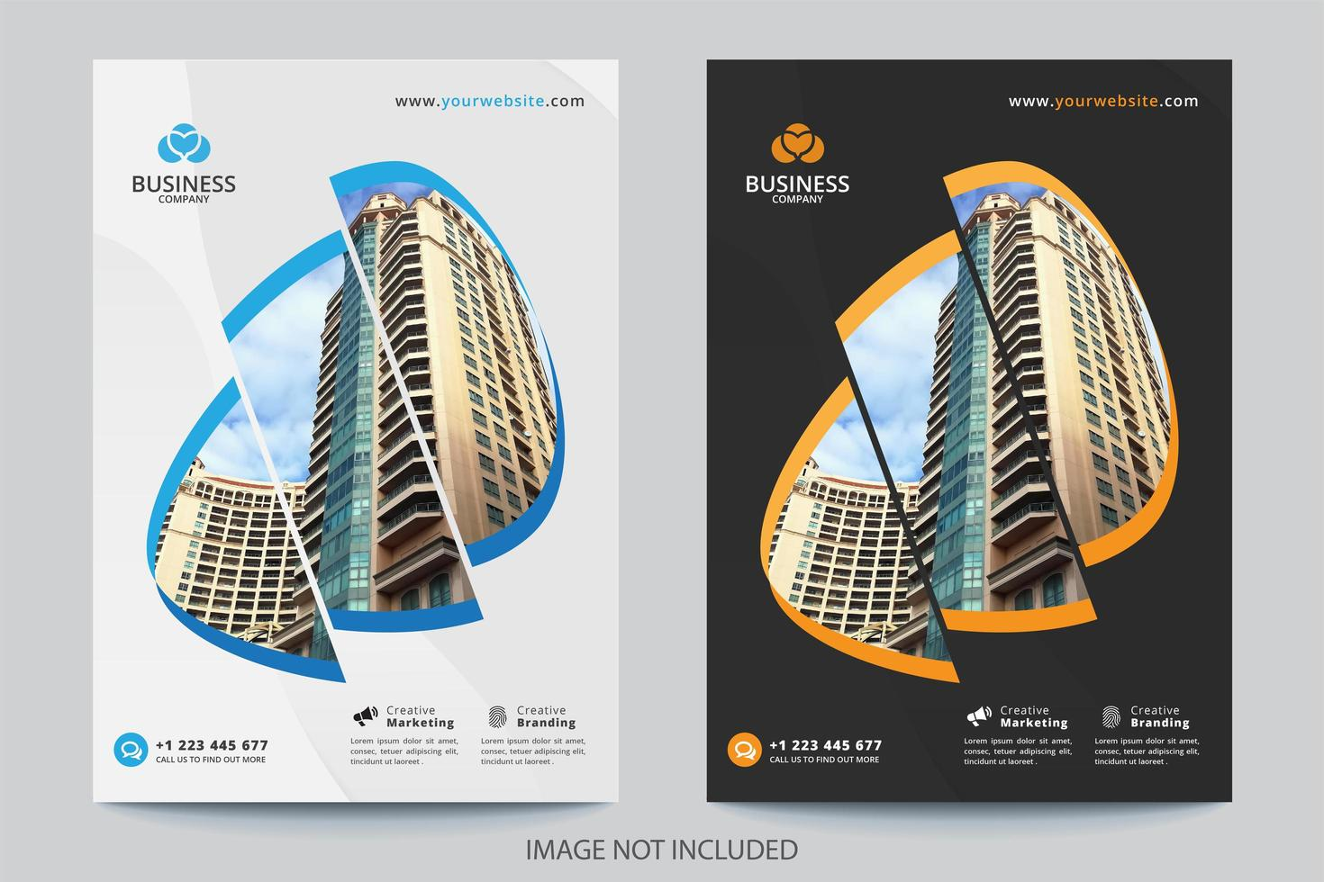 Modèle de couverture commerciale d'image en 3 sections vecteur