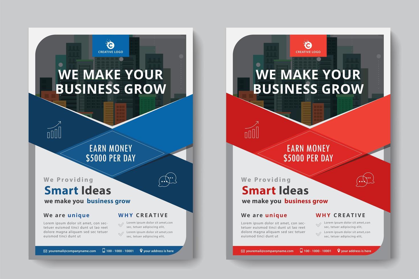 Flyer Business format A4 2 flyers couleur rouge et bleu vecteur