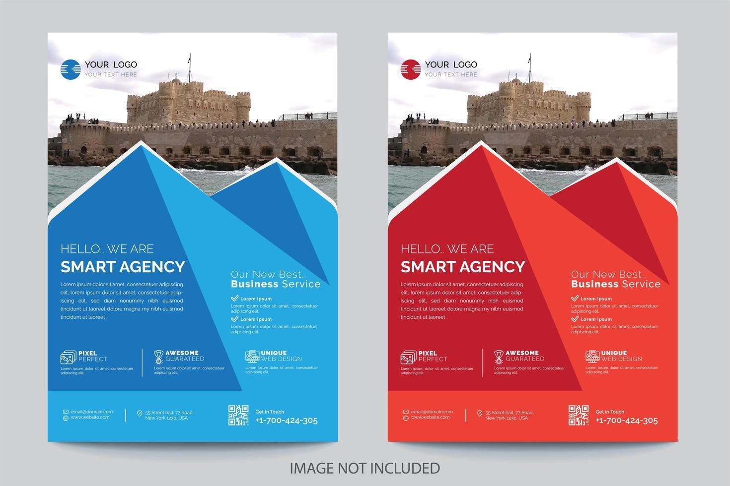 Modèle de Flyer de conception de forme de pyramide bleue et rouge vecteur