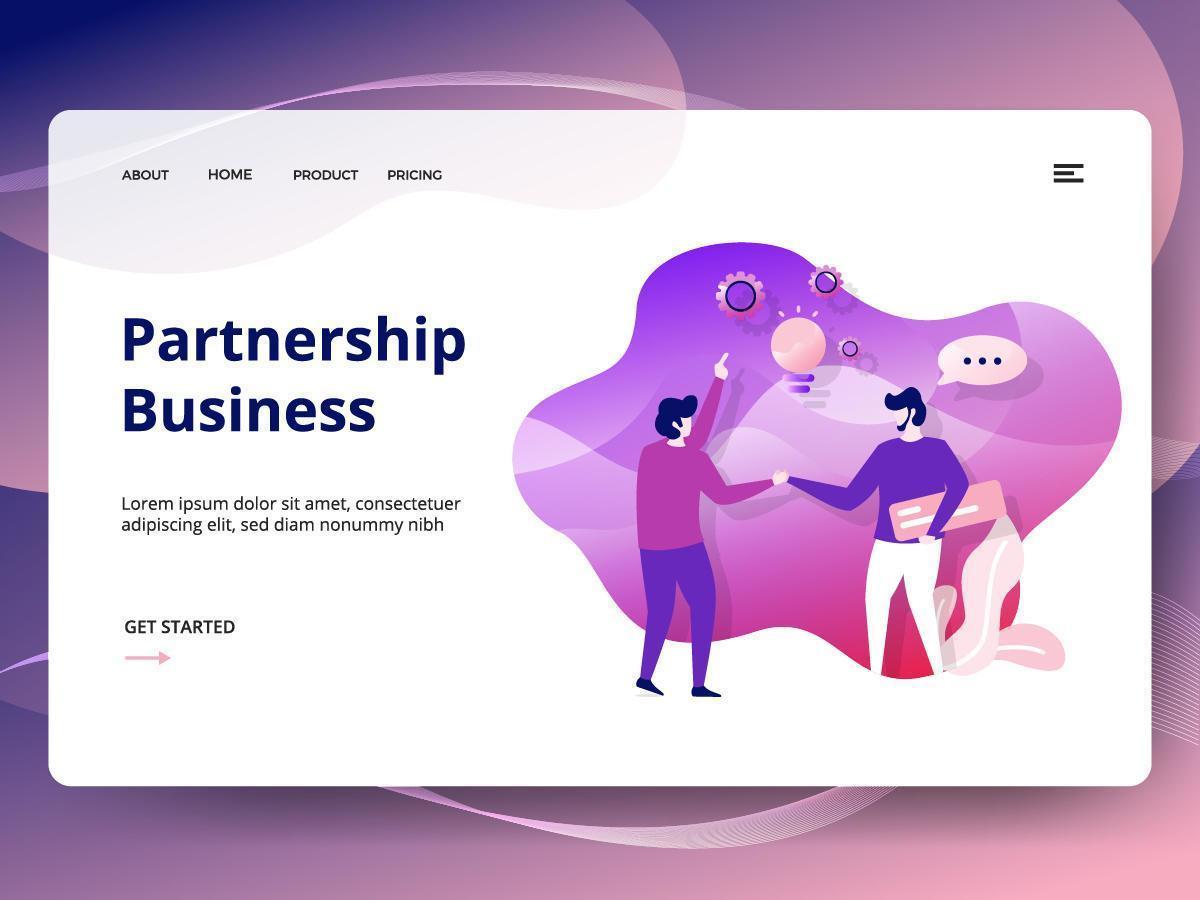 Modèle de site Web d'entreprise de partenariat vecteur