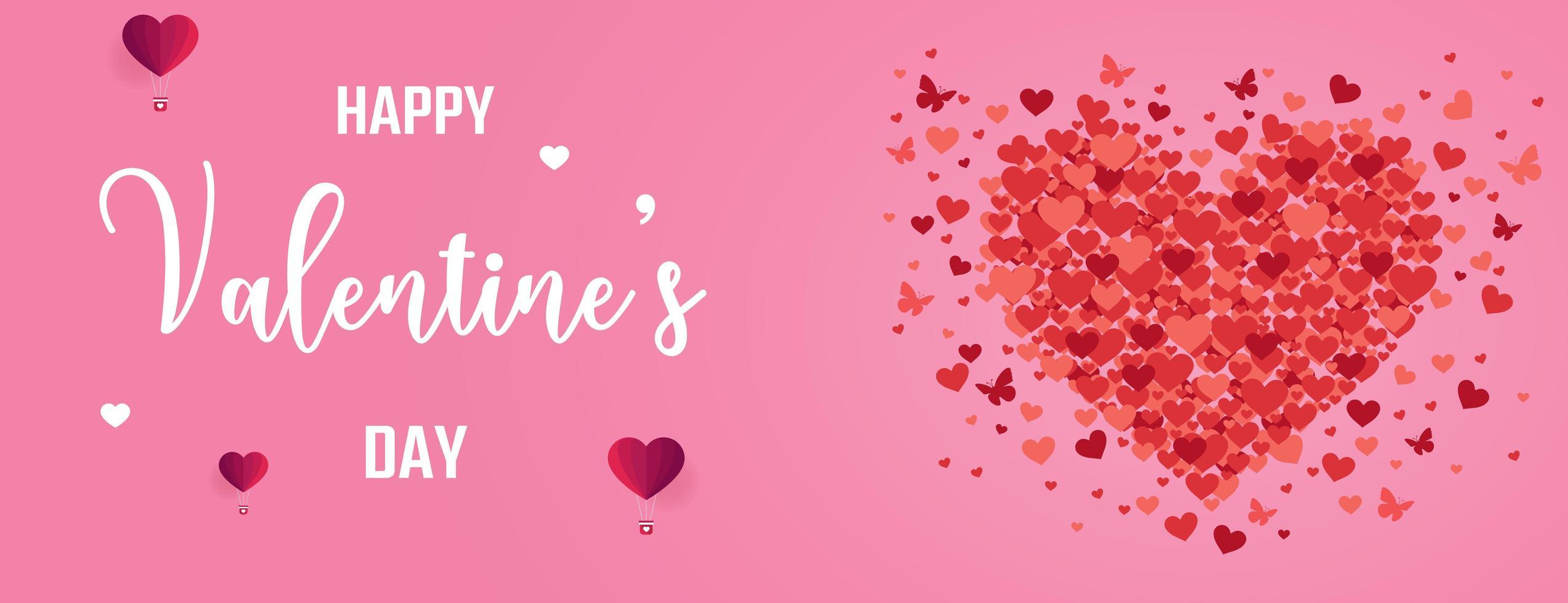 Bannière de la Saint-Valentin avec coeurs et papillons vecteur