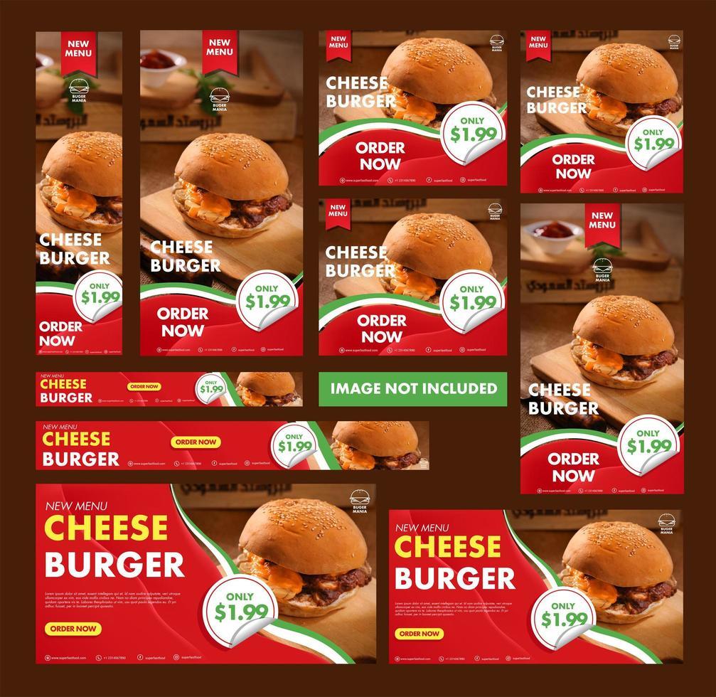 Collection de bannières Web Burger vecteur