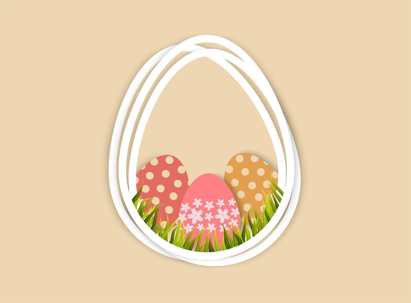 Oeufs de Pâques et herbe dans un cadre en forme d'oeuf vecteur