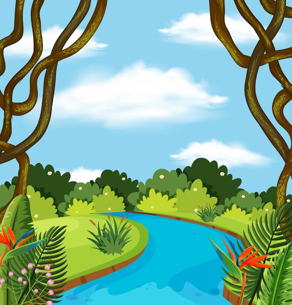 Une rivière dans le paysage forestier vecteur