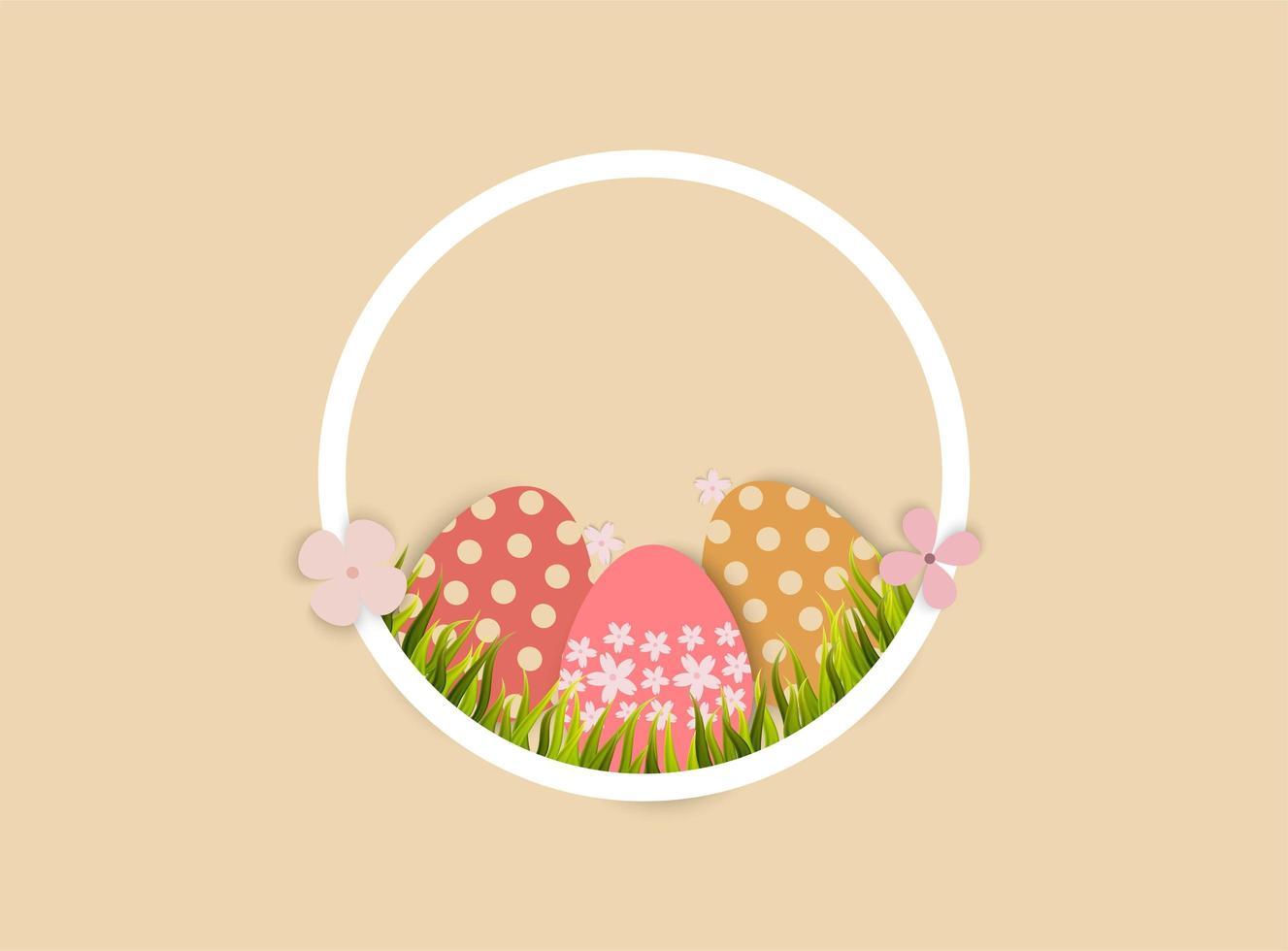 Oeufs de Pâques et herbe dans un cadre en forme de cercle vecteur