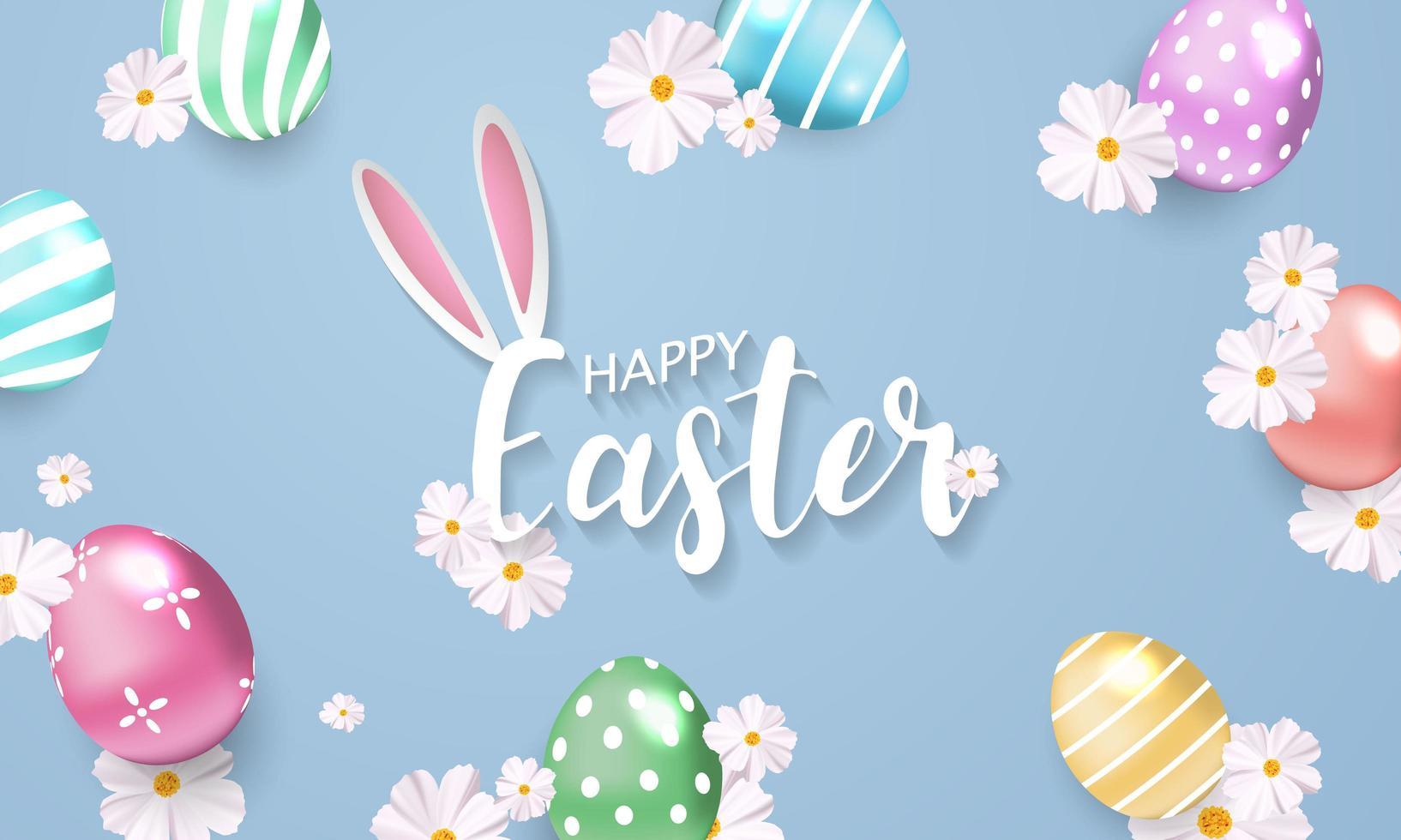 Fond de Pâques avec des fleurs et des œufs brillants vecteur