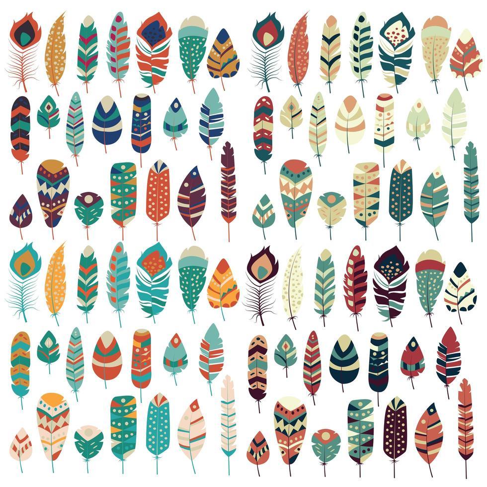 Collection de boho vintage tribal ethnique dessiné à la main plumes colorées vecteur
