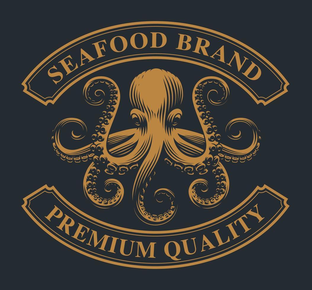 emblème vintage avec une pieuvre vecteur