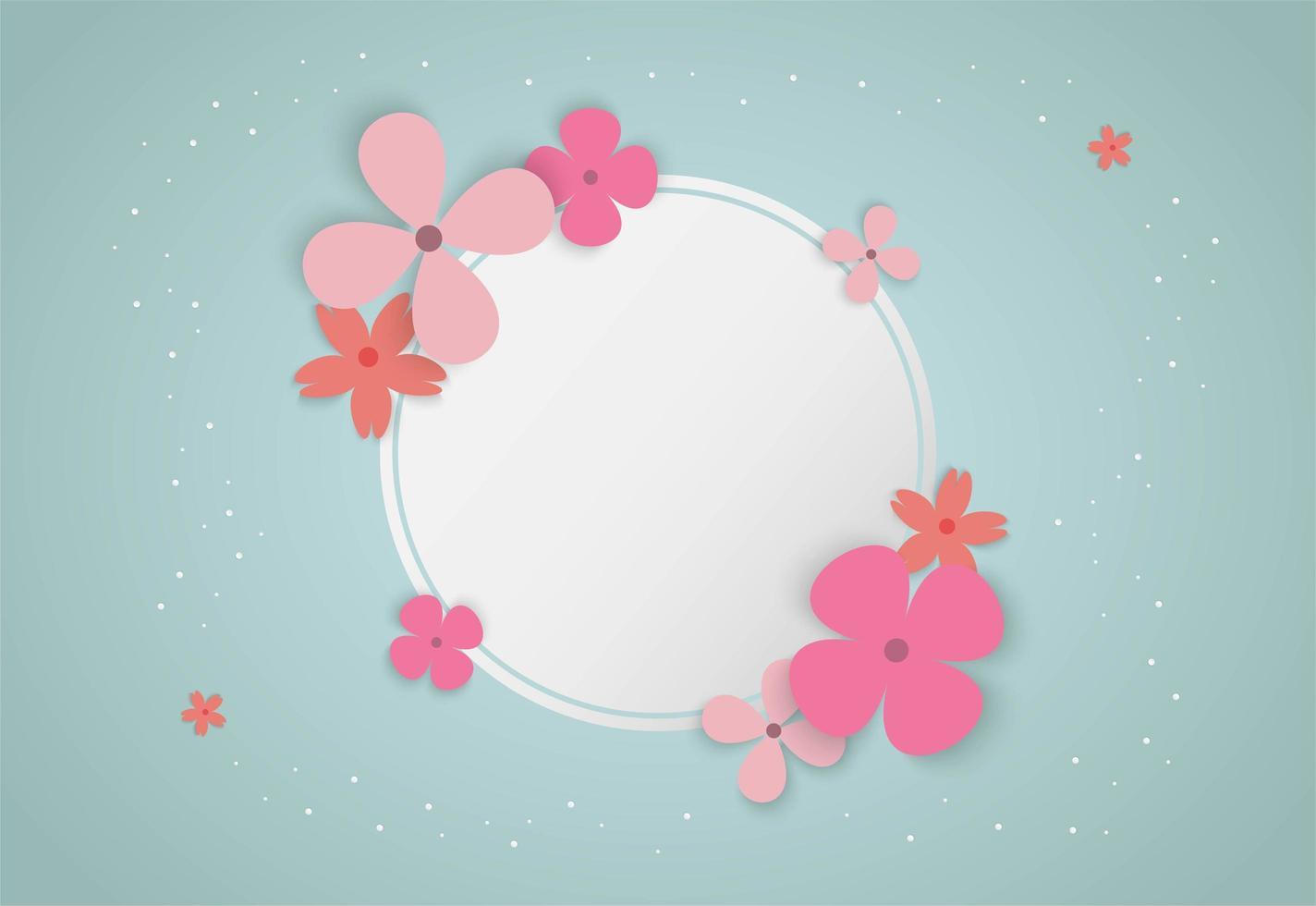 cadre de cercle avec des fleurs colorées vecteur