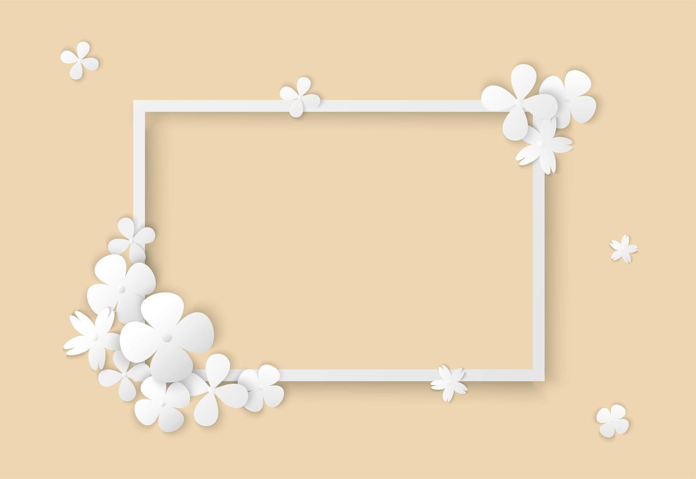 art papier fleurs blanches et cadre carré vecteur