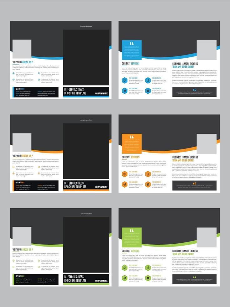 ensemble minimal de brochures avec 3 jeux de couleurs vecteur
