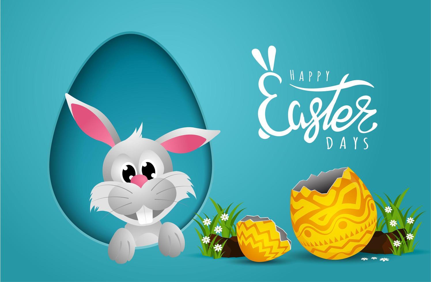 carte de Pâques avec cadre en forme d'oeuf découpé en papier et lapin vecteur