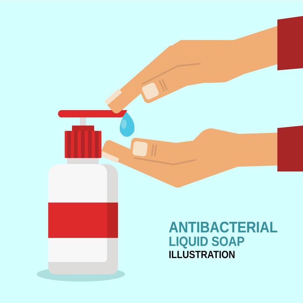 savon antibactérien et mains vecteur