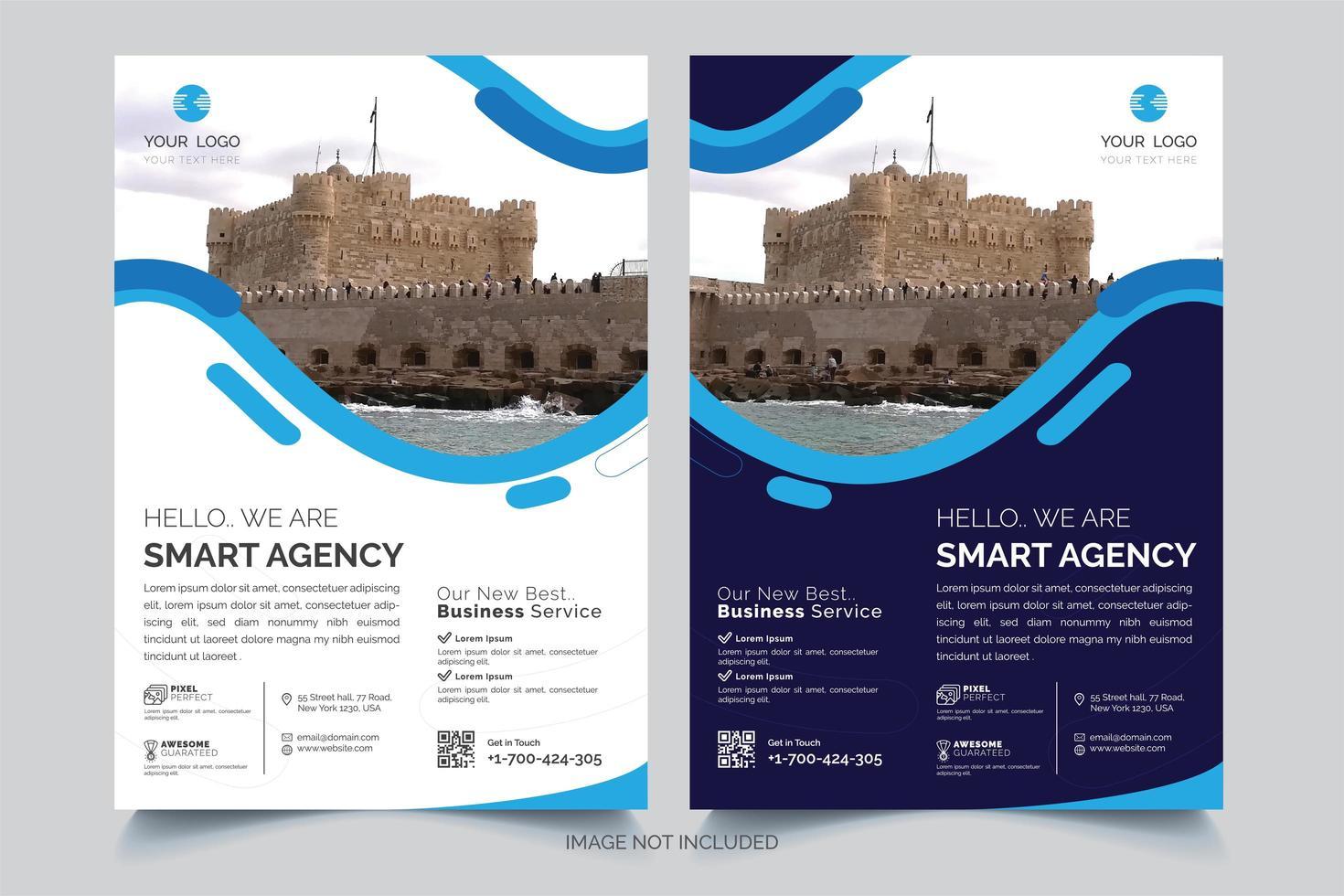modèle de flyer d'affaires design ondulé bleu et blanc vecteur