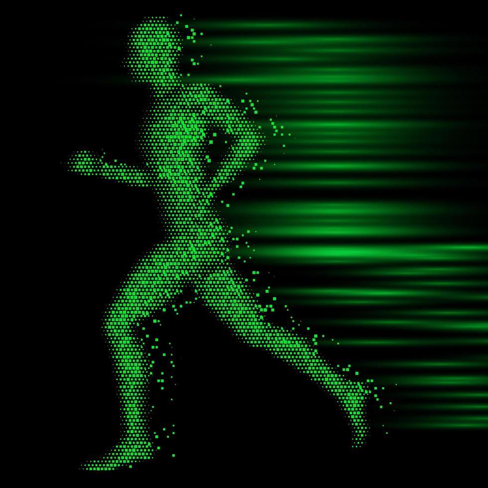 figure masculine pixélisée techno vecteur