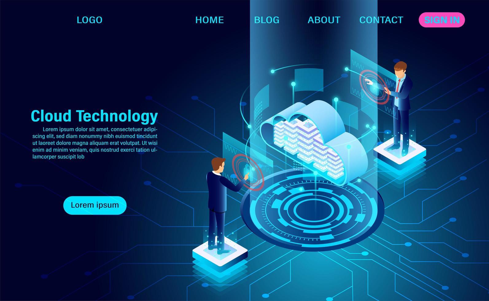 concept de centre de données cloud vecteur
