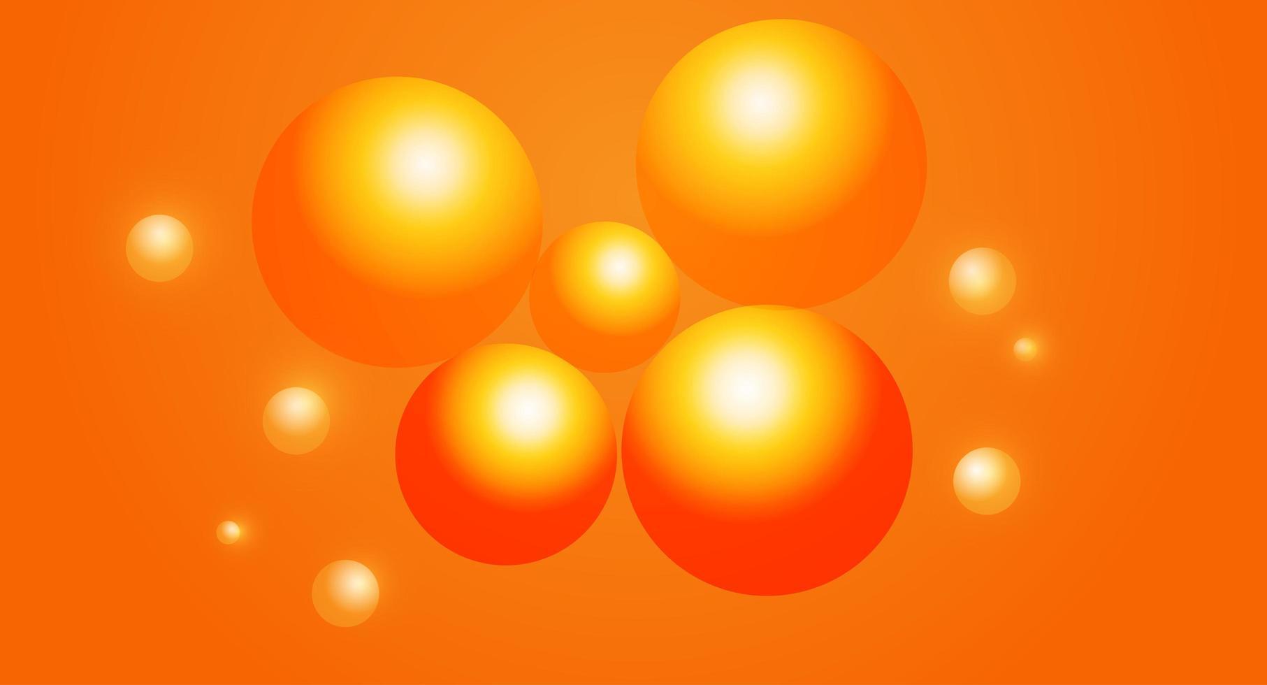 fond d'écran dégradé orange avec des sphères vecteur