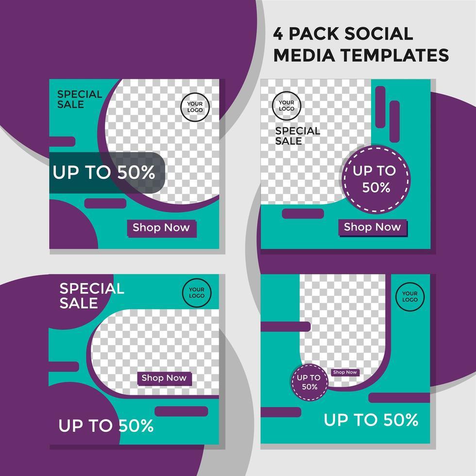 pack de cercle de bannière de médias sociaux violet et vert vecteur