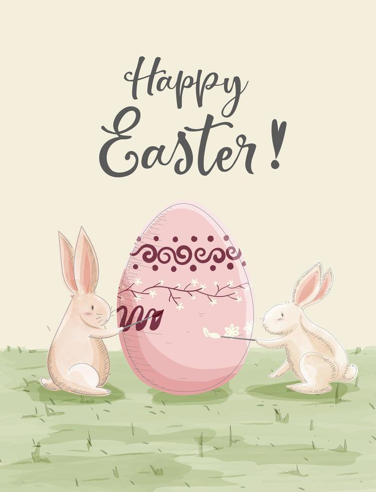 carte de Pâques aquarelle avec des lapins peignant un oeuf vecteur