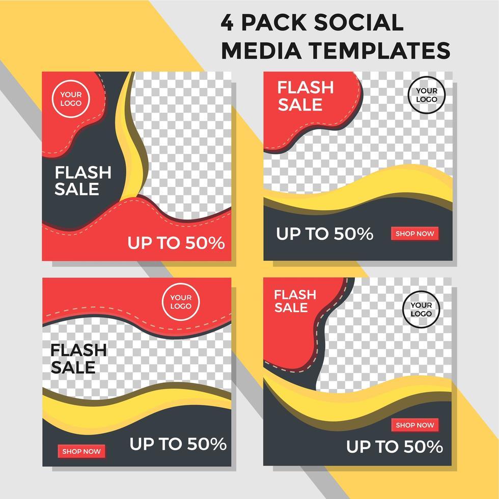 pack de style de vague de bannière de médias sociaux orange et jaune vecteur