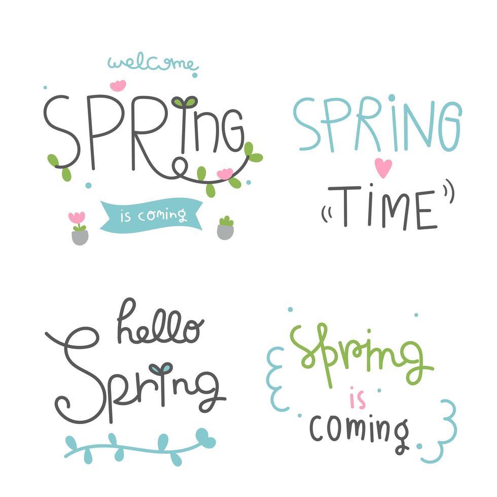 ensemble de lettrage de temps de printemps vecteur