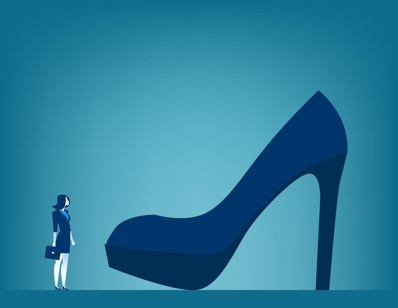énormes responsabilités femme d'affaires avec grande chaussure vecteur