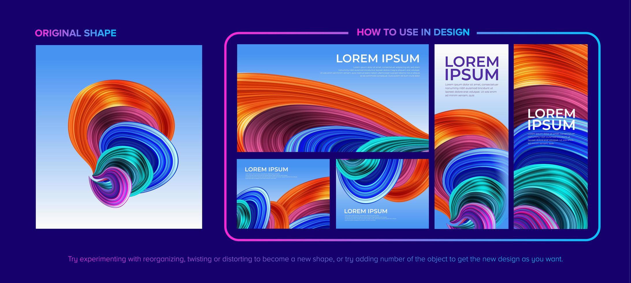 pack de conception de forme de tourbillon coloré abstrait vecteur