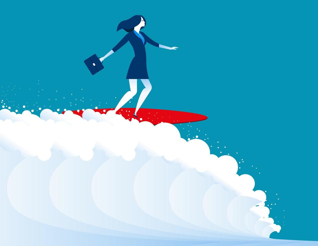 femme affaires, surfer, sur, grande vague vecteur