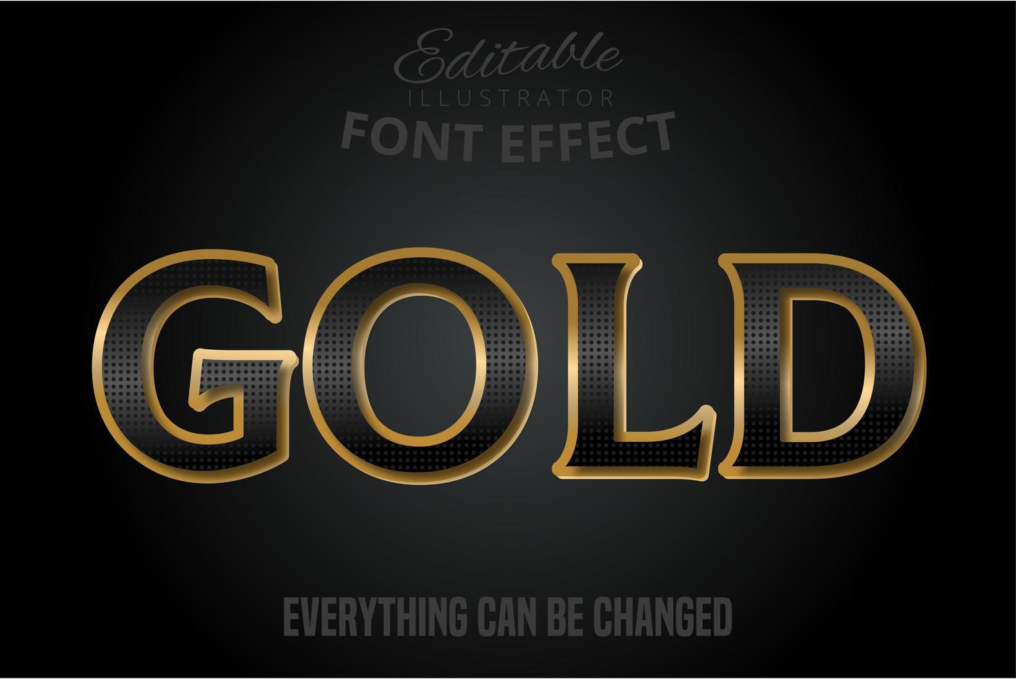 effet de texte motif noir avec extrusion d'or vecteur
