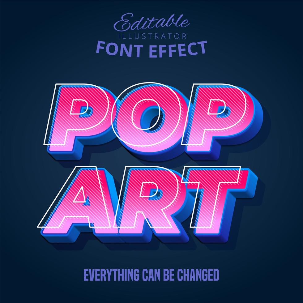 texte pop art, effet de texte modifiable vecteur