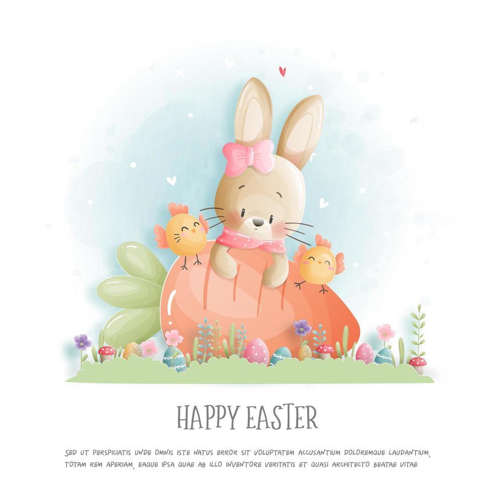 carte de Pâques avec lapin et poussin sur oeuf. vecteur