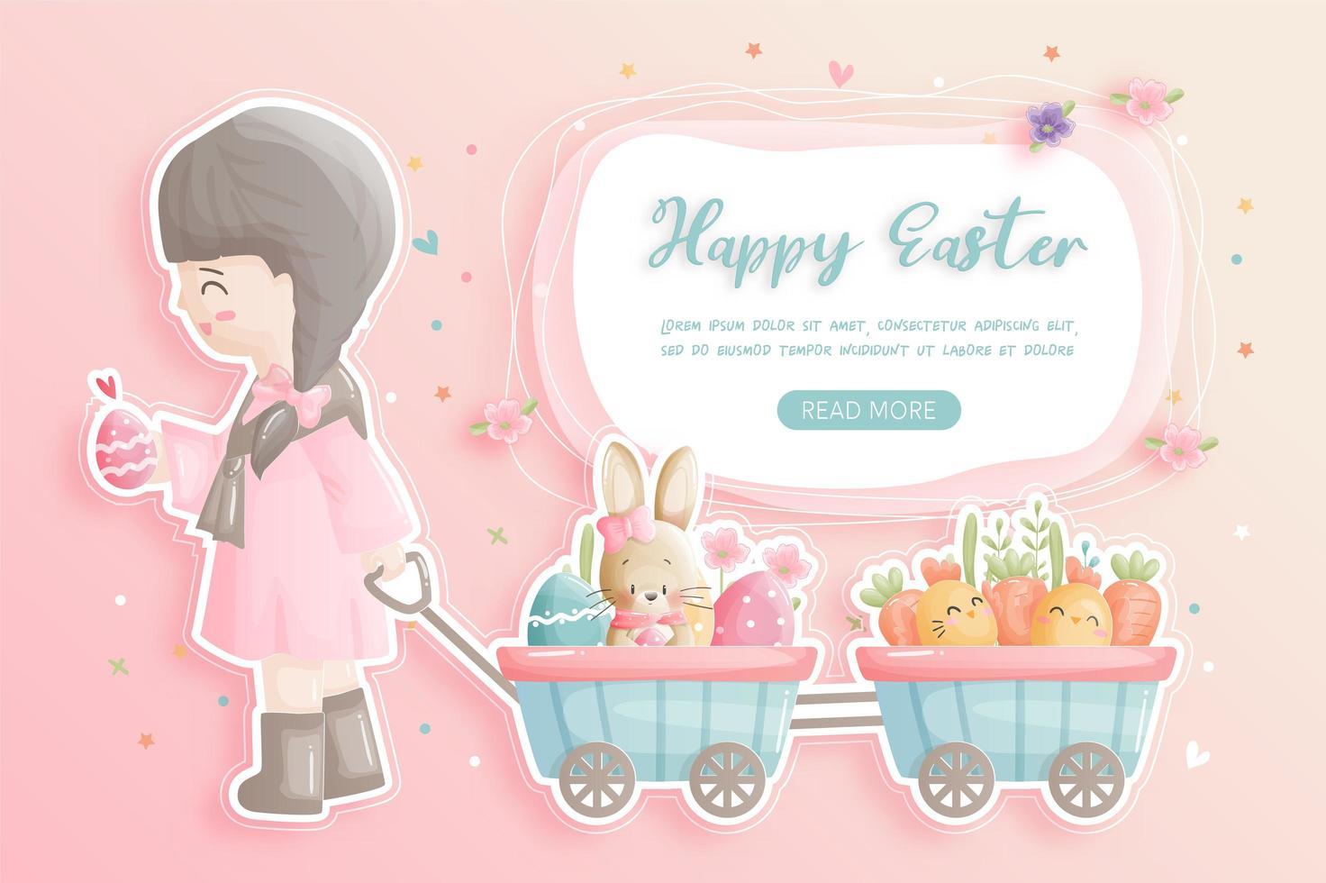 carte de joyeuses pâques avec fille tirant le chariot vecteur