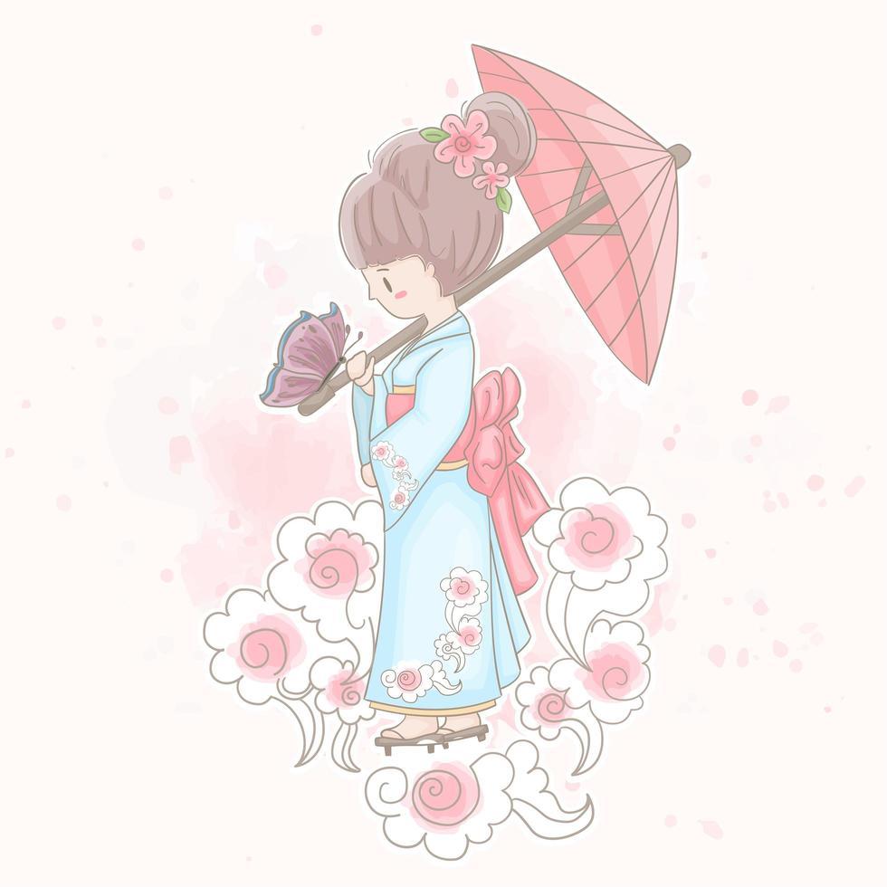 fille japonaise en kimono vecteur