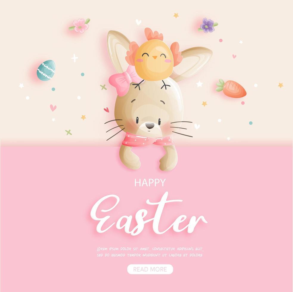 carte de joyeuses pâques avec lapin et poussin sur rose vecteur