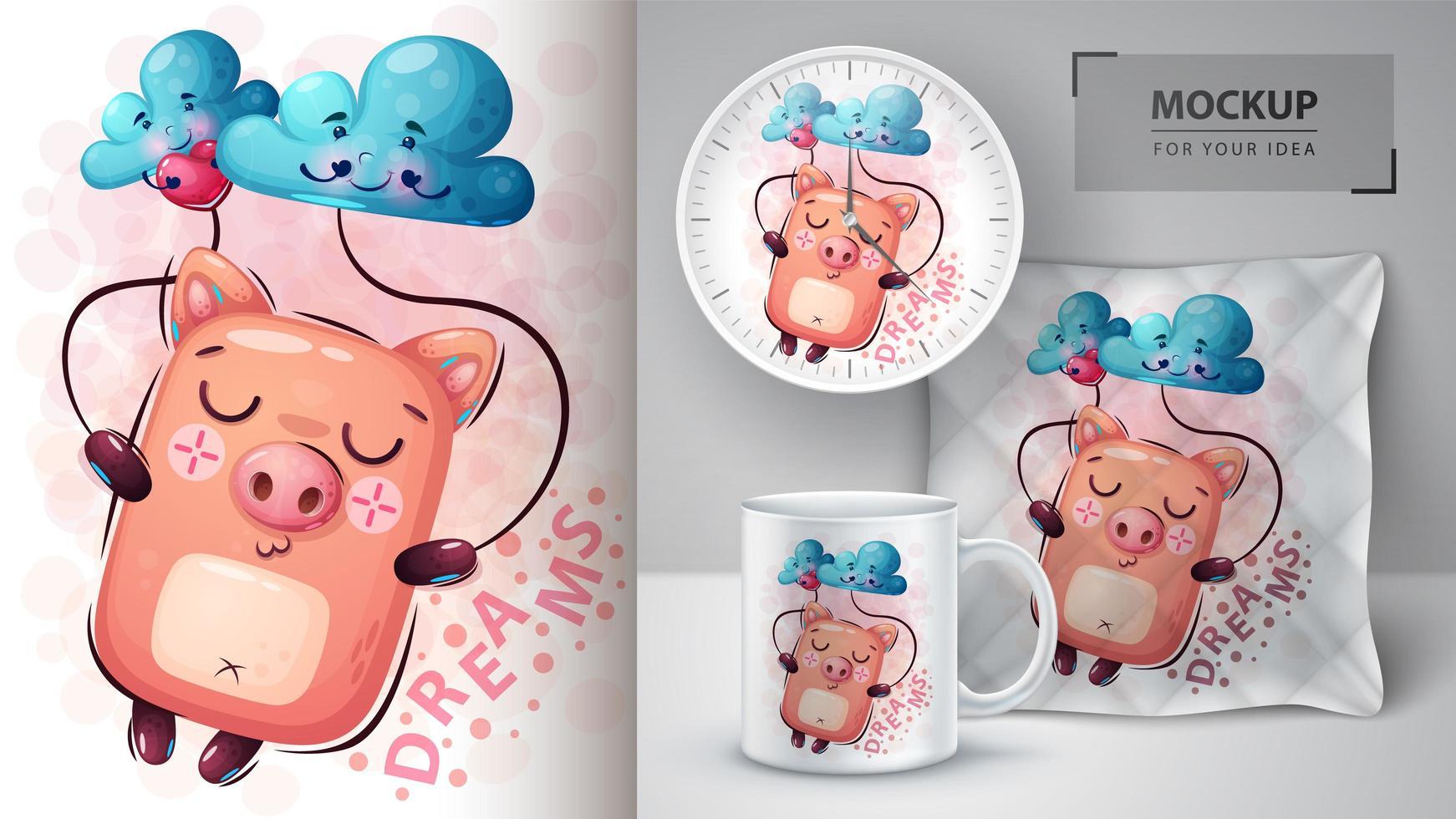 conception de rêves de cochon dessin animé vecteur