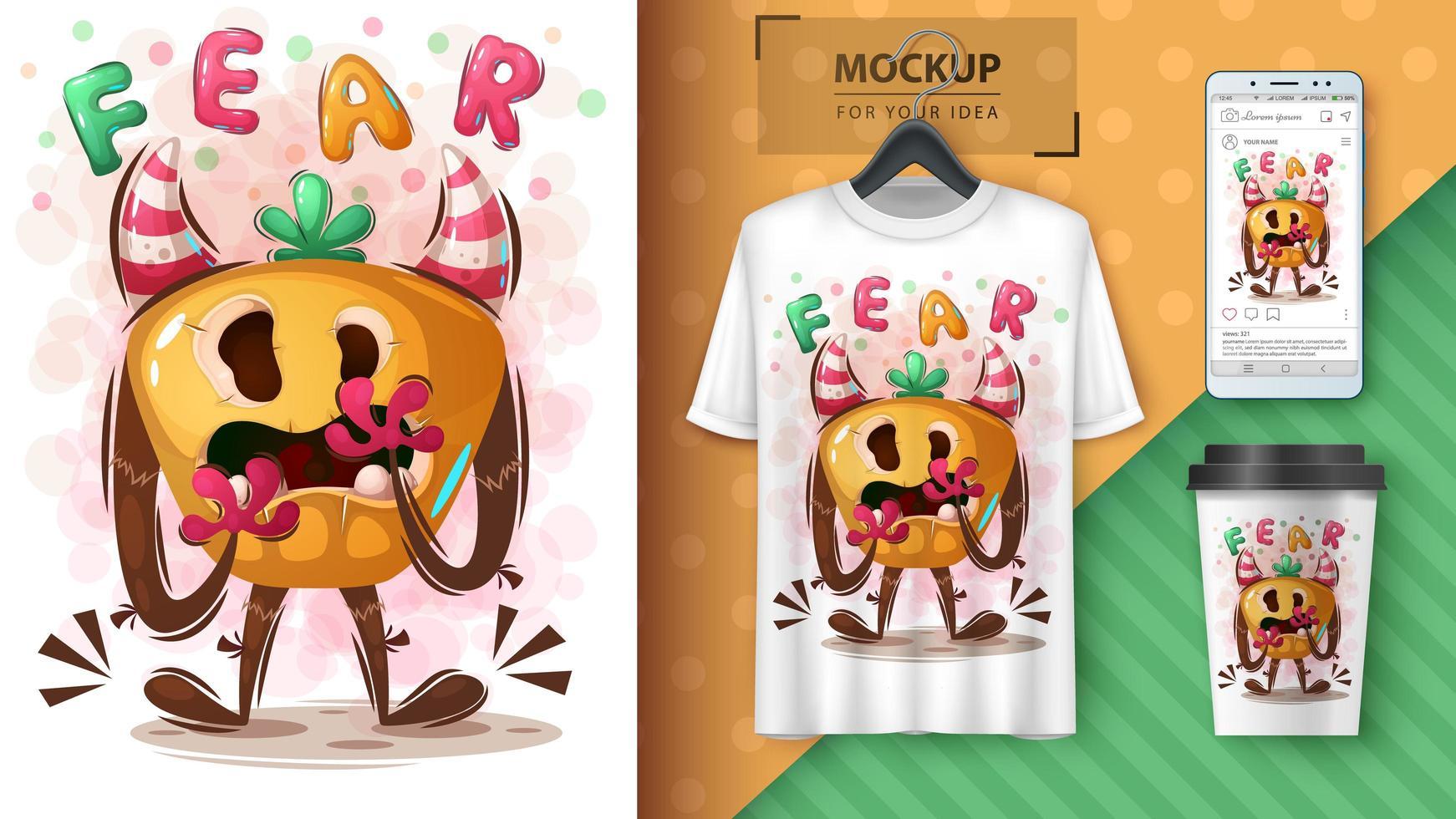 affiche de monstre d'halloween et merchandising vecteur