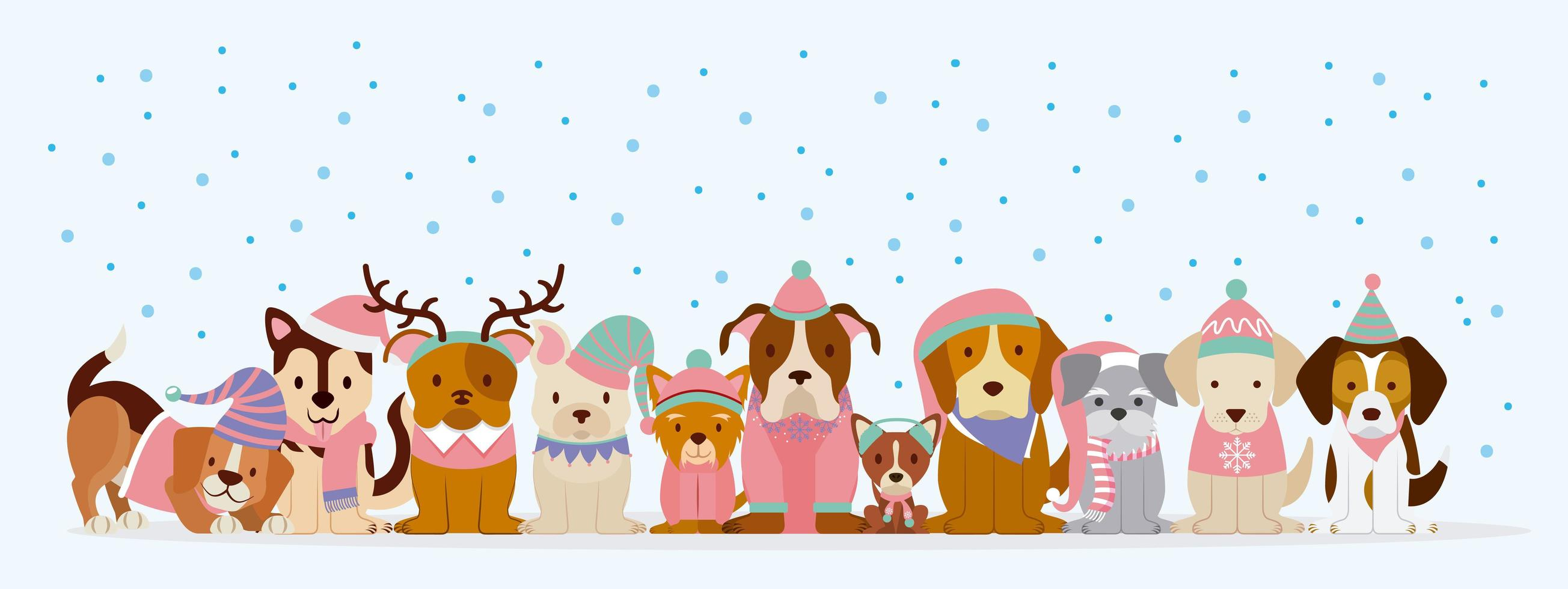 chiens en vêtements d'hiver dans la neige vecteur
