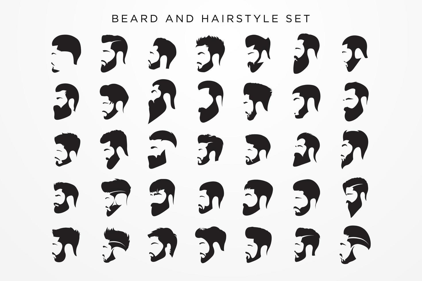 ensemble barbe et coiffures homme vecteur