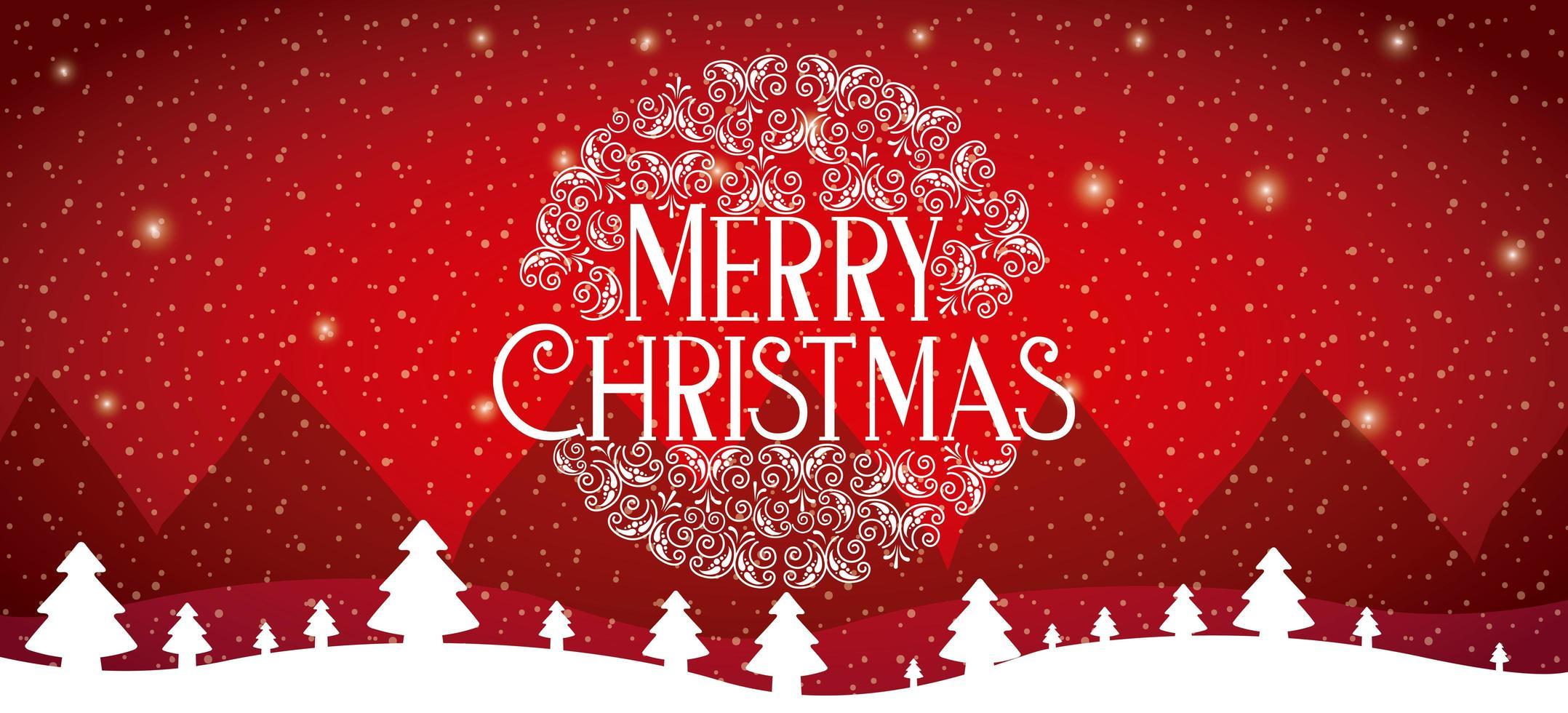 carte de joyeux Noël rouge avec scène de neige vecteur