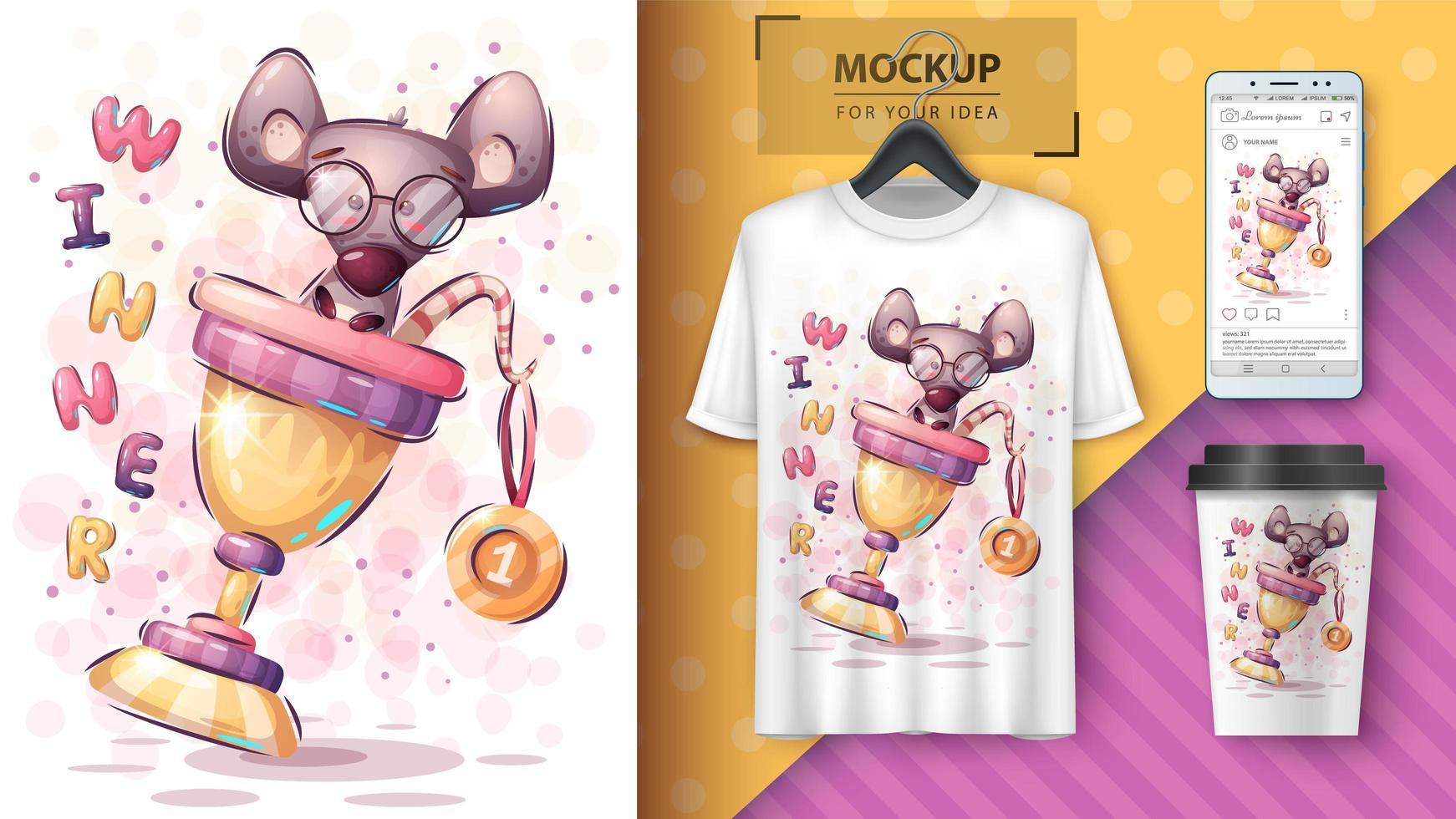 affiche de souris de dessin animé gagnant vecteur