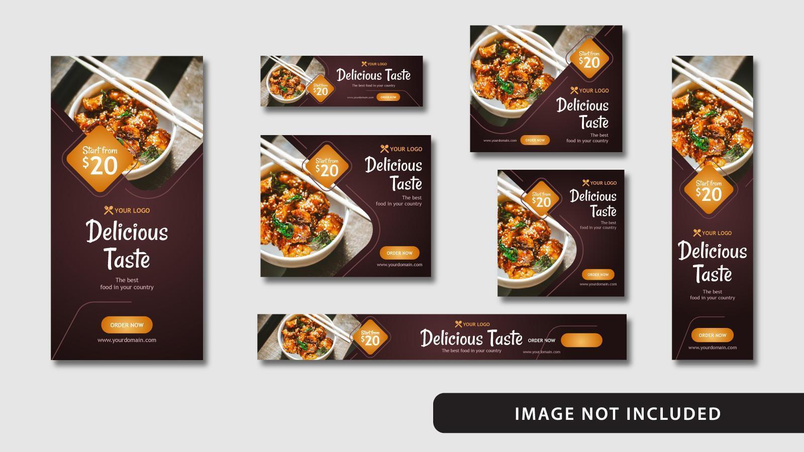 médias sociaux de nourriture élégante et bannière web vecteur